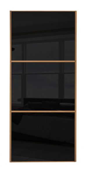 Wideline sliding wardrobe door, Beech frame/ Black glass